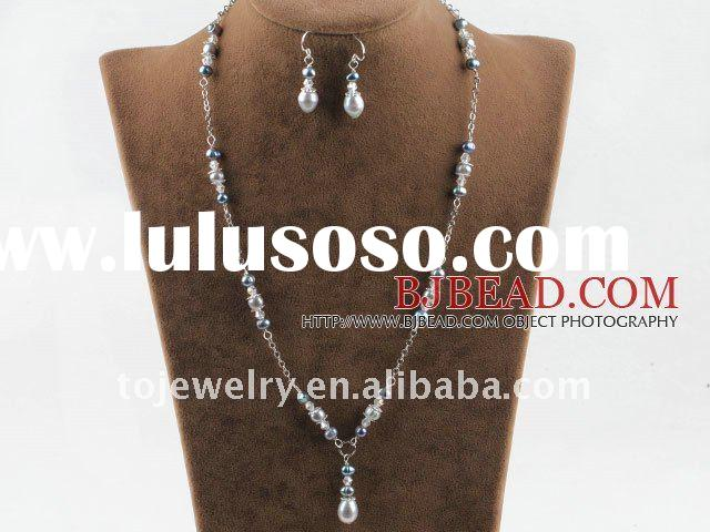 Gray silver color pearl crystal necklace earrings sets