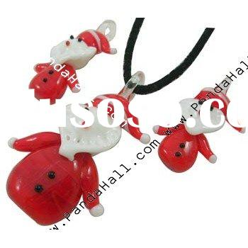 Handmade Christmas Lampwork Jewelry Set, Necklace and Earring, Santa Claus, Red (LAMP-50X32)