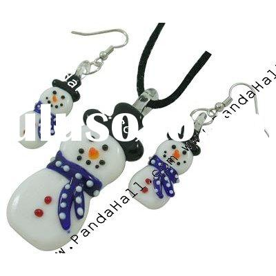 Handmade Xmas Lampwork Jewelry Set, Necklace and Earring, Snowman, White, Size: Big: about 60x23mm,