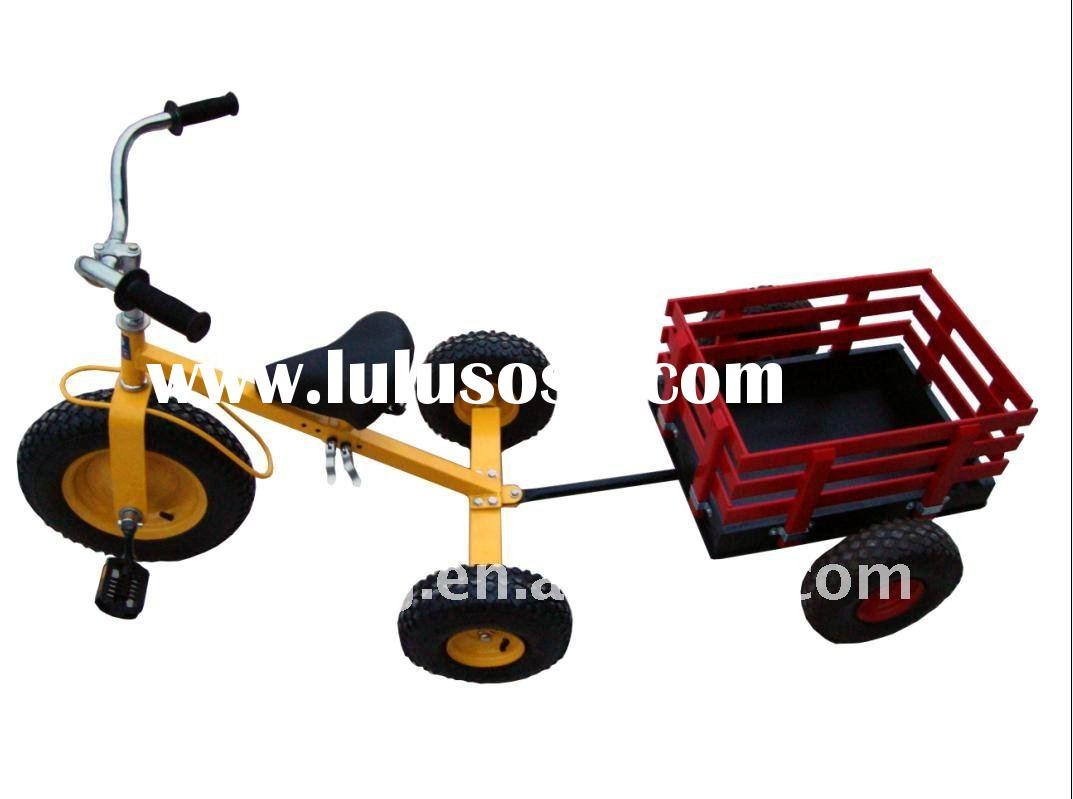 Happy pedal car with wooden trailer,CE certificate,free wheels and handbreak