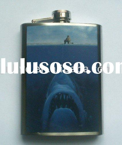 Hip flask with one side water-tranfer printing