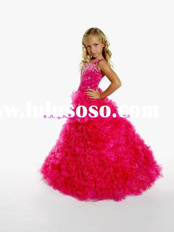 Hot 2011 Lastest Design Red Beautiful Flower Girl Dress