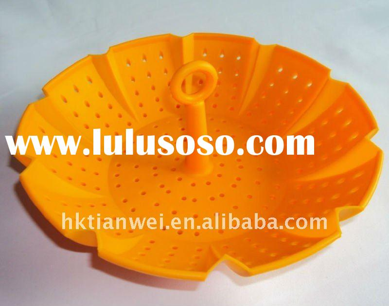 Hot sell oval shaped collapsible vegetable safe silicone steamer