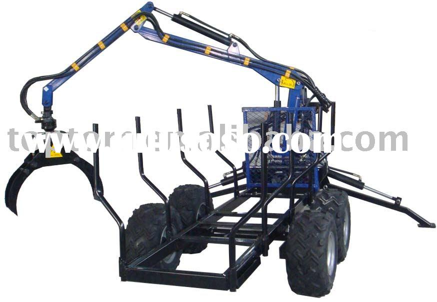 Hydraulic Gasoline Engine Timber Trailer with Crane,timber trailer,wood trailer, log trailer,grab tr