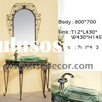 Iron art tempered glass vanity