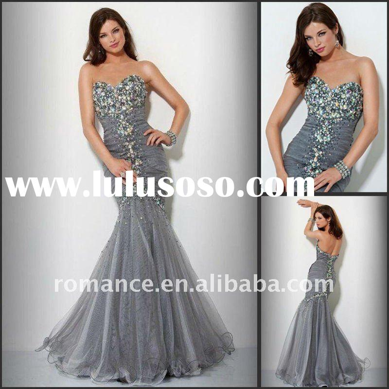 LD1548 Beautiful Mermaid Organza Shiny Crystals Evening Prom Dress