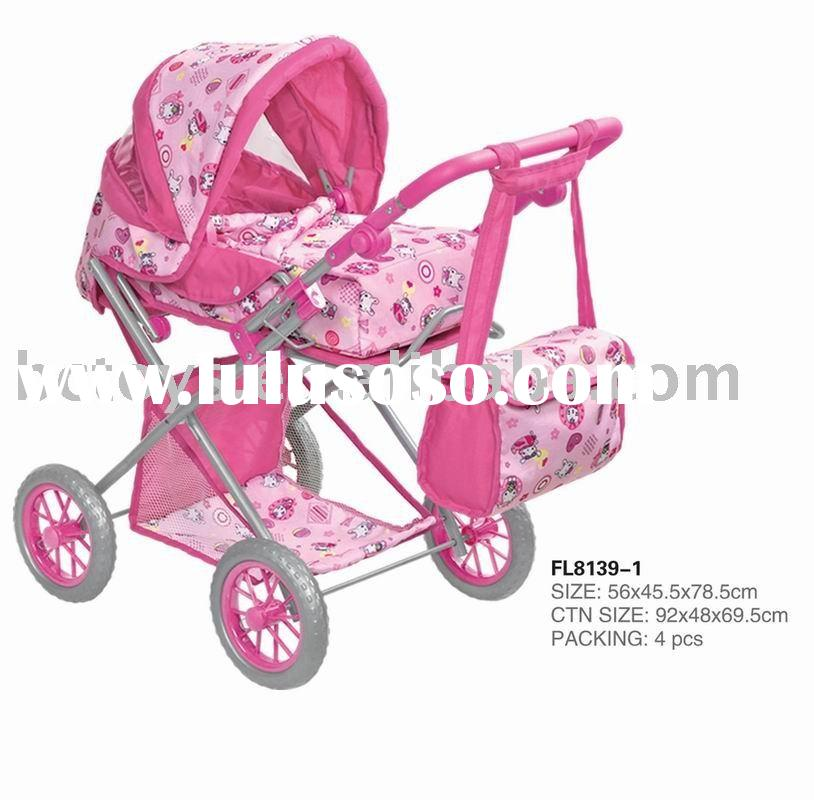 Lovely Color Baby Doll Stroller Car Seat Toy With Sunshade Storage Basket Bag