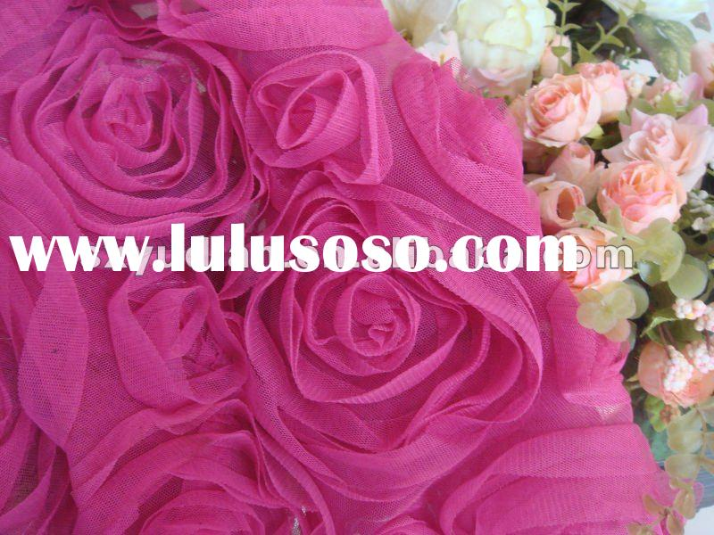 Mesh ribbon embroidery rosette fabric in rose design