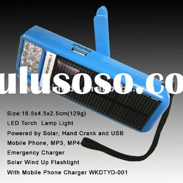 Mini Handheld Hand Winding charge solar Flashlight with USB Mobile Phone Charger
