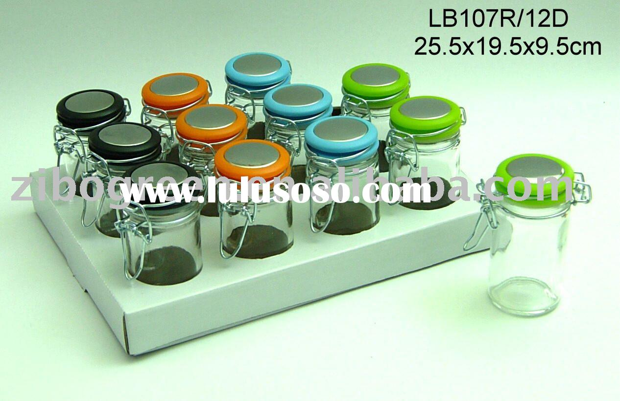 Mini glass spice jar with plastic lid with metal clip (LB107R/12D)