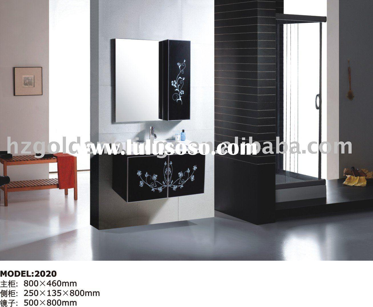 Modern black pvc bathroom cabinet 2031