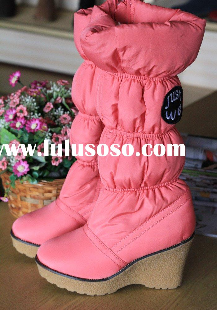New Arrival! Fashion Women's Waterproof Snow Boots with Side Zipper DSC10-1 Pink