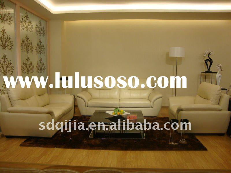 New Modern Pure White Real Cow Leather China Sectional Sofa