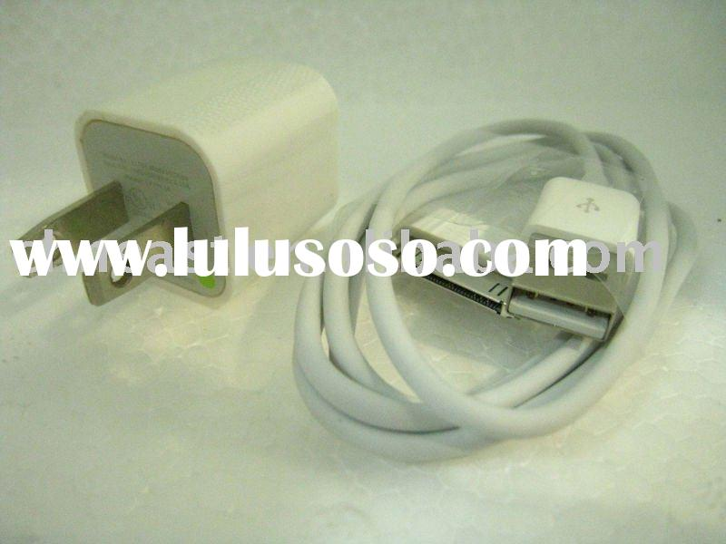 OEM Wall travel mobile phone Charger with USB data cable for IPod Touch IPhone 4 3G 3GS