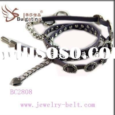 PU imitative real leather chain belts ,docoration by diamond/rhinestone/strass/crystal chaton for fa