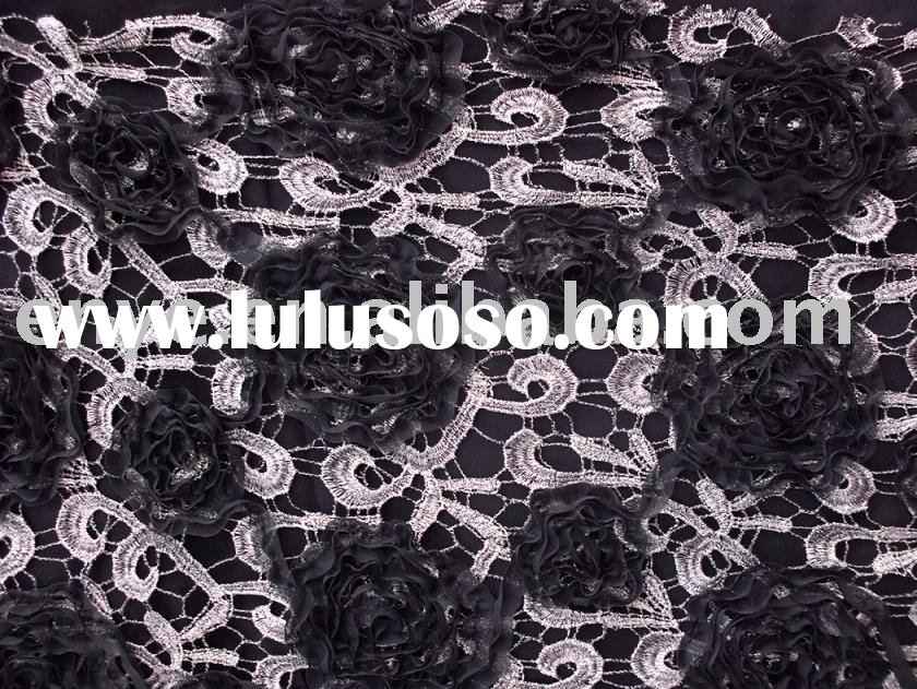 Poly Lace Satin Ribbon Embroidery Fabric