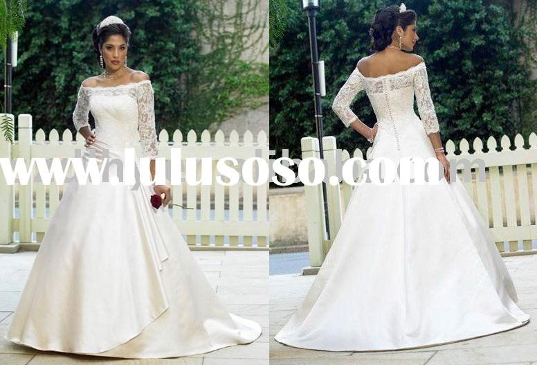 Pop 2010 Gorgeous& Elegant Long lace sleeve High-quality wedding dress SYF-4735