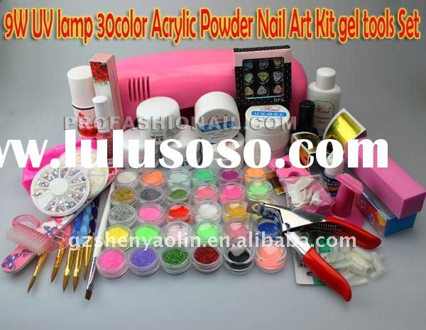 Professional Full Set Acrylic Powder UV Gel Brush Pen UV Lamp Nail Art DIY Manicure kit NA888