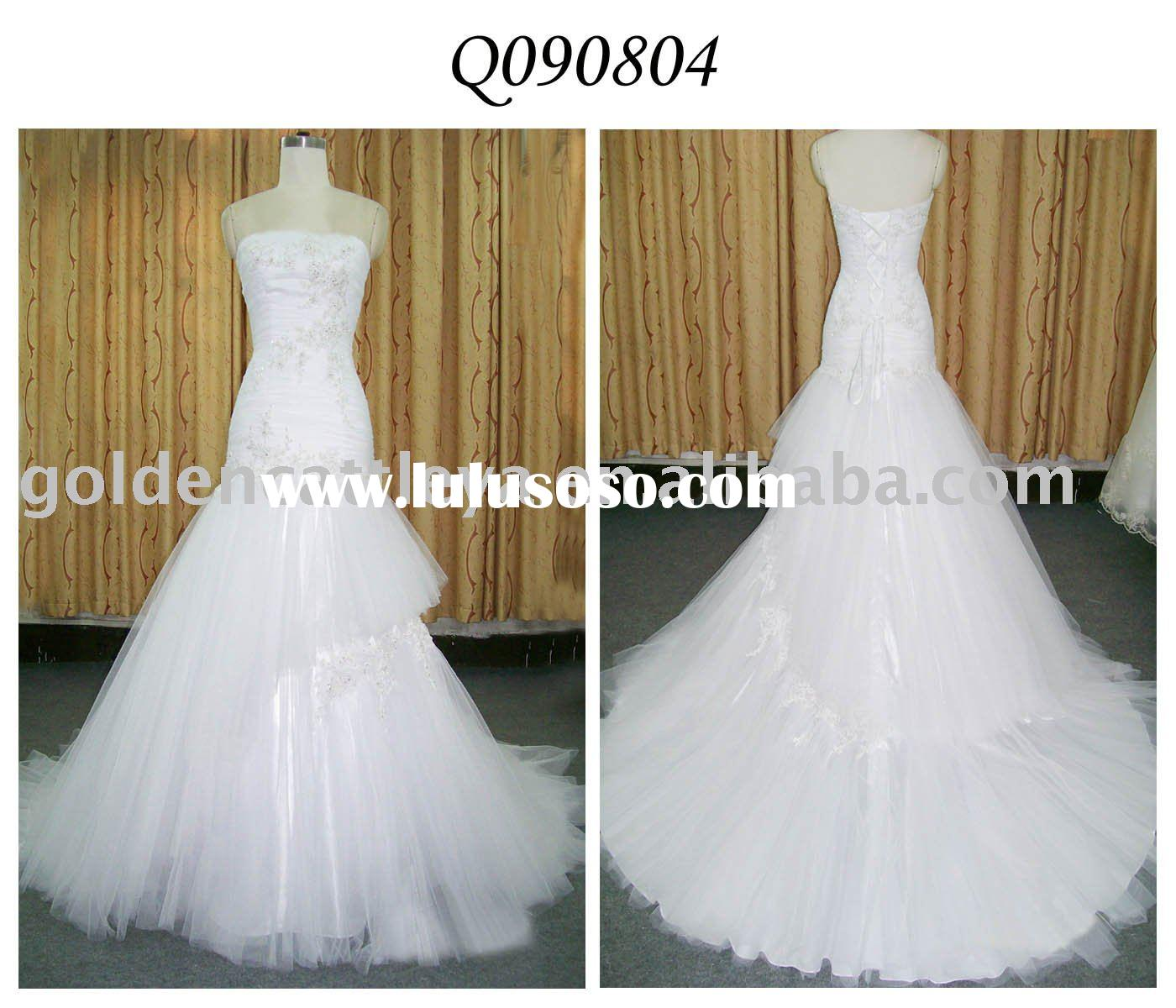 Q090804 gorgeous strapless beaded & pleated wedding dress patterns