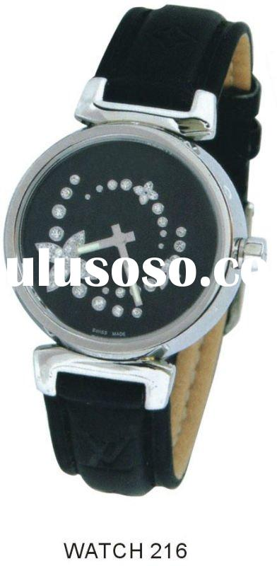 Real leather band ladies watches with diamond in case,Japan movt fashion watch (CE/ROHS)