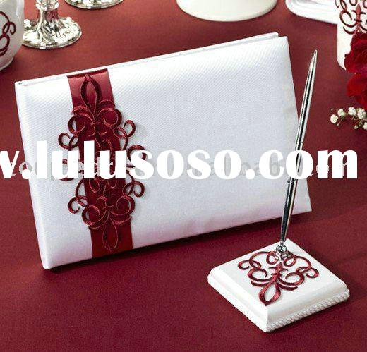 Red Scroll Wedding Guest Book and Pen Holder Set