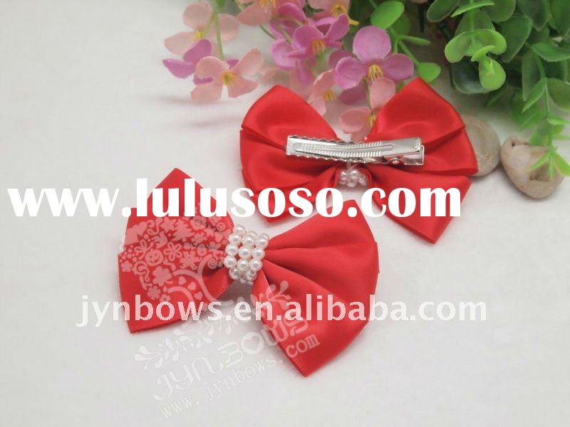 Red satin ribbon hair clips with teeth