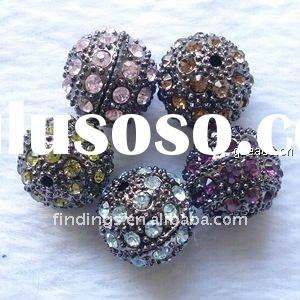 Rhinestone round beads, metal alloy, nickel-free, black plated, mix-color, 10mm, sold per pc