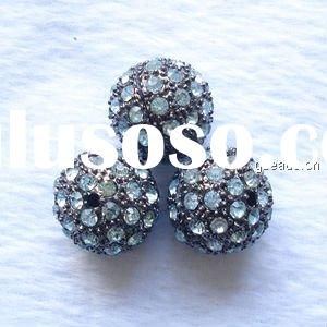 Rhinestone round beads, metal alloy pave beads, nickel-free, black plated, 14mm, sold per pc