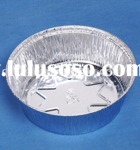 Round aluminum foil pie pan with plastic dome lid
