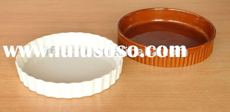 Round ceramic bakeware with solid color, round porcelain ovenware,baking oven dish