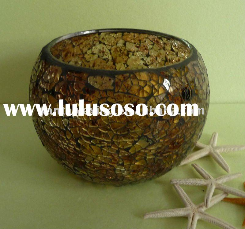 Round glass mosaic votive candle holder in crackle glass