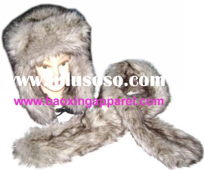 Russian faux fur hat and mongolian scarves scarf