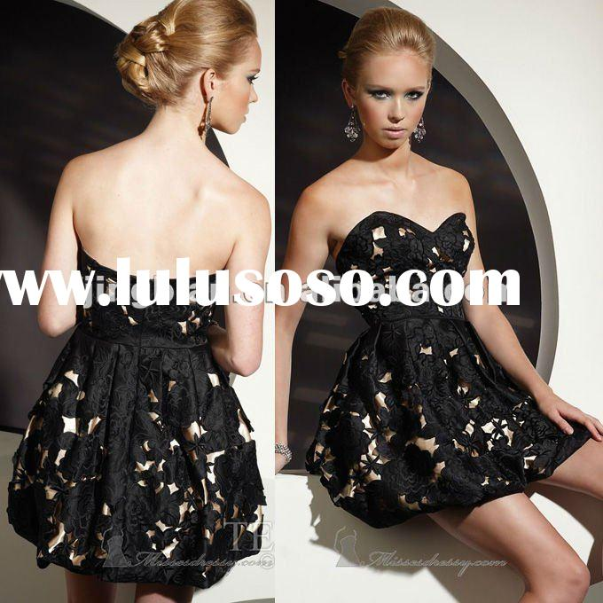 SC1712 latest dress designs 2012 fashion dress Terani couture fashion black lace girls party dresses
