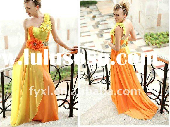 SD1292 orange and yellow party dress