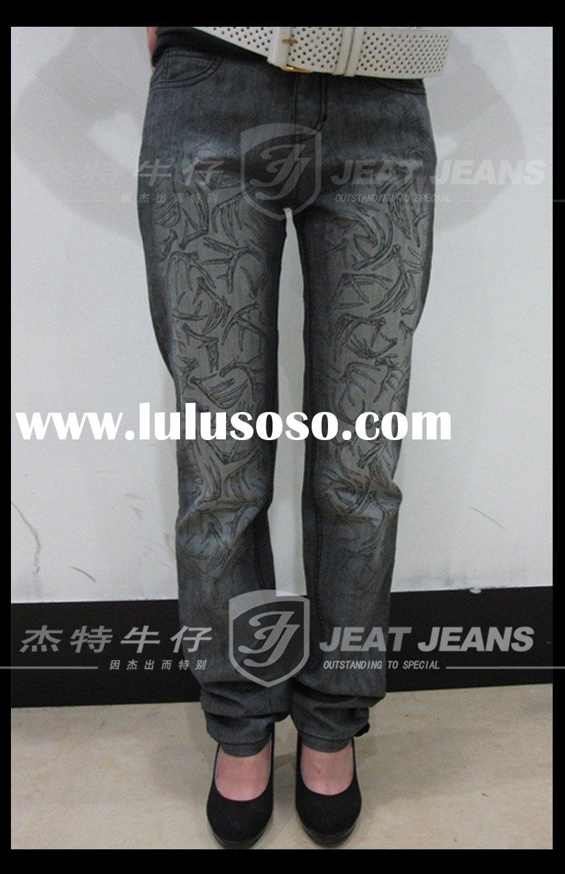 STRIGHT LEG JEANS - DEER HORN PRINTING DENIM (JT10-137)