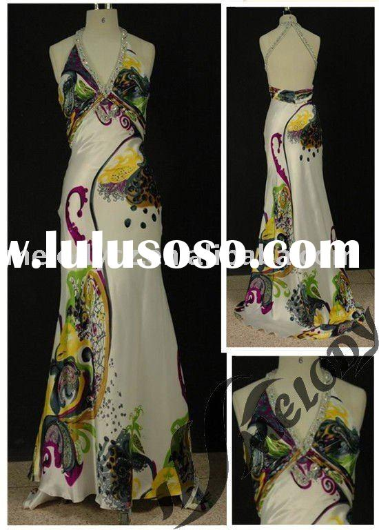 Satin Fabric Printed Beaded Halter Maxi Prom Dress