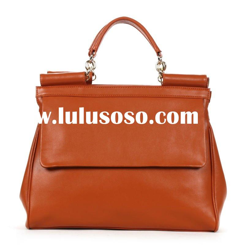 Simple design ladies leather bag brief case fahsion handbag