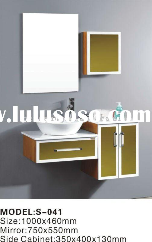Single sink Bathroom Vanity with wood framed mirror