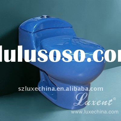 Siphon One-Piece Toilet In Blue Color, Bathroom Toilets, Water Closet, Sanitary Wares