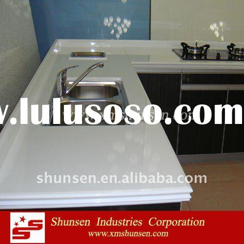 Super White Crystal Glass Countertops for kitchen