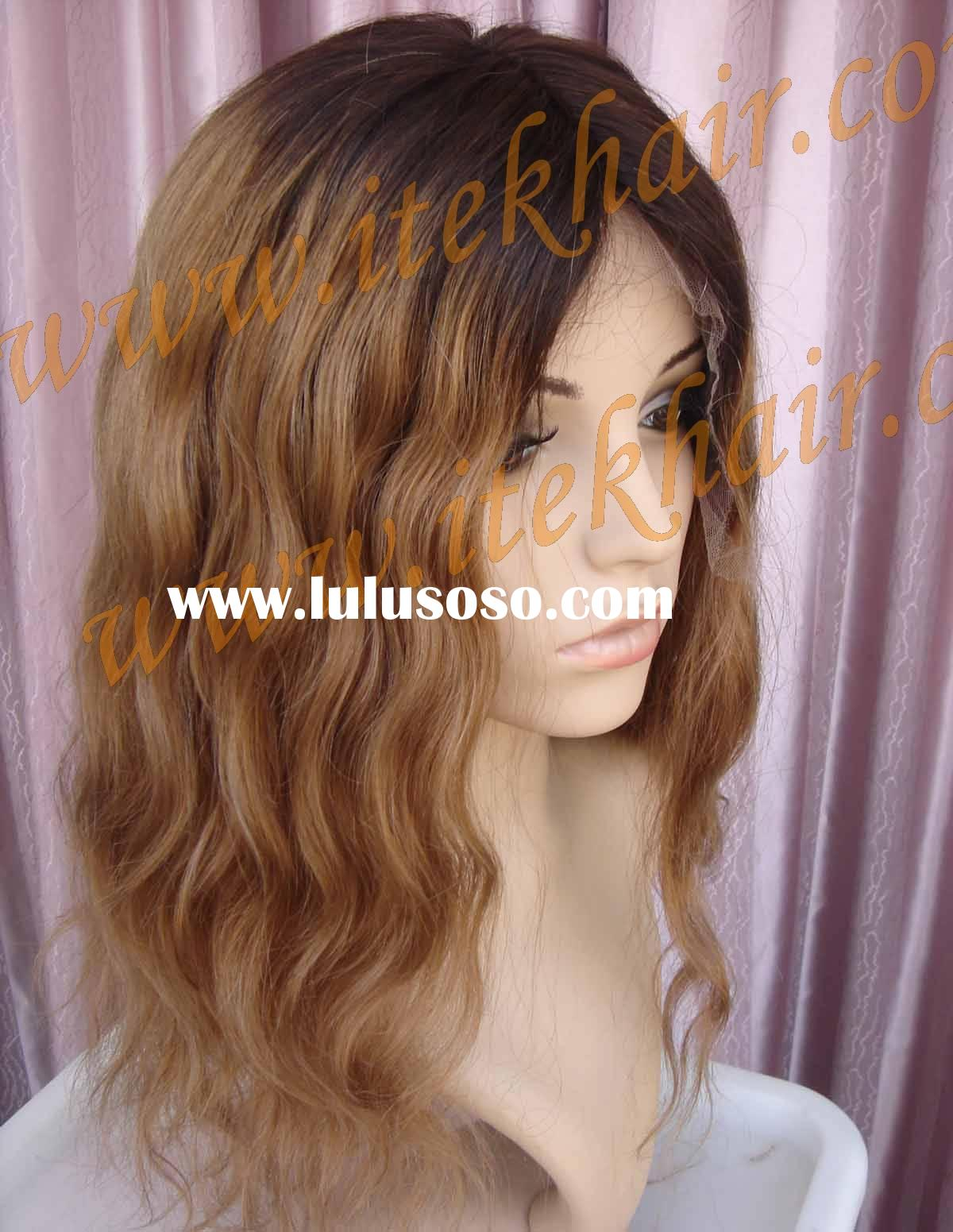 TWO TONED Silk Top/french Top/skin Top Full Lace Wigs,accept Paypal