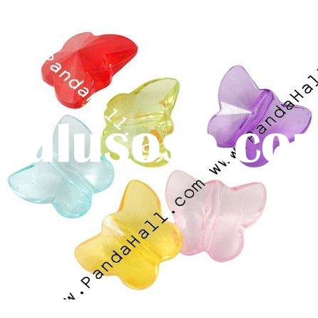 Transparent Acrylic Beads, Faceted, Butterfly, Multicolor, Size: about 12x15x7mm, hole: 2mm, about 1