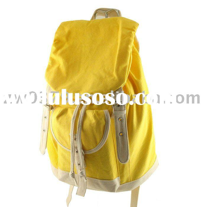 Trendy Yellow Canvas Shoulder Bag School Backpacks for Girls-CRB 04