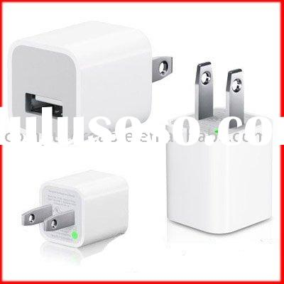 USB wall charger for Apple iPhone iPod,White US Plug AC USB Adapter For Apple iPod iPhone