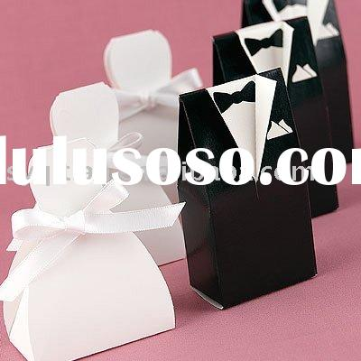Wedding favor-candy box-Personalized Black Tux & White Gown Boxes