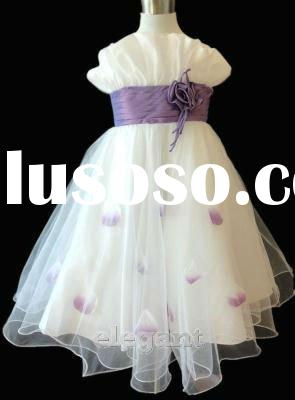 White Lilac Wedding Flower Girl Gown Pageant Birthday Party Dress