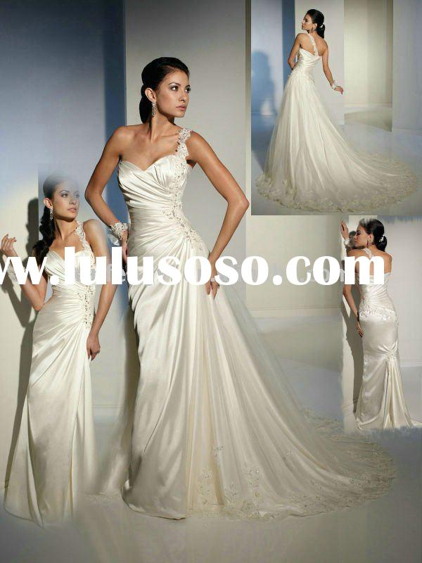 With removable appliques tulle skirt, affordable lace strap one shoulder wedding party dresses shops