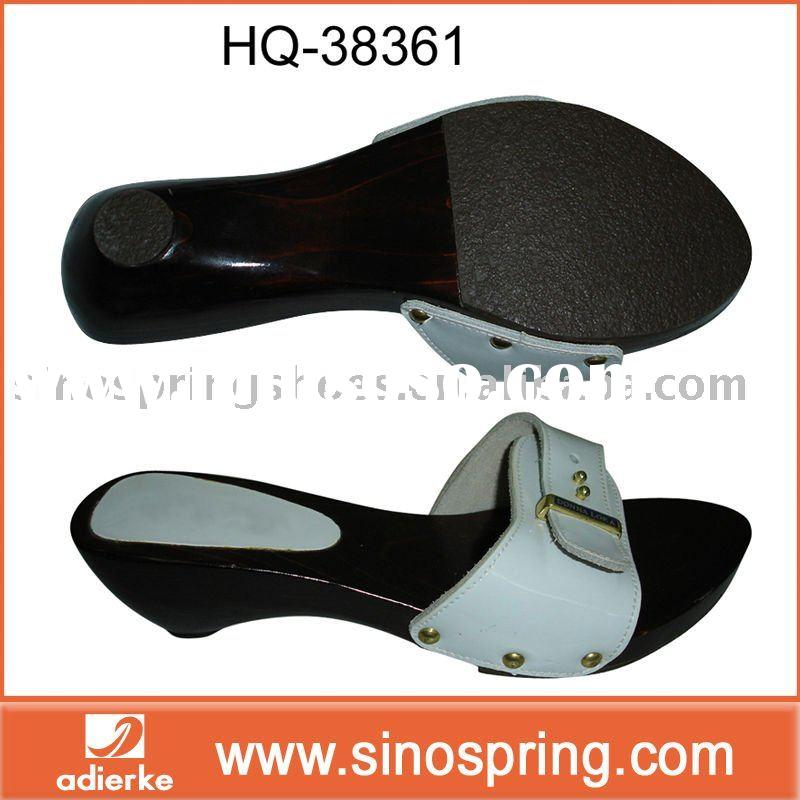 Women PU leather Wood Slippers