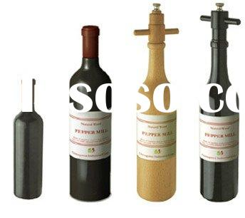 Wood Wine Bottle Shape Salt & Pepper mill (pepper grinder, salt mill)