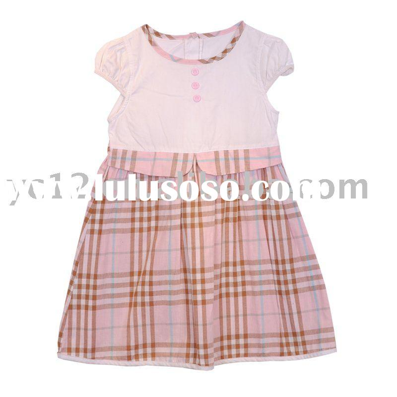 Woven Round Neck Small Cap Sleeve Plain Hit Plaid Check cotton baby dress